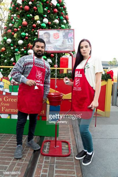Adrian Dev and Kristi Tucker attends The Salvation Army Celebrity Digital Kettle Kickoff Hollywood on November 27 2018 in Los Angeles California