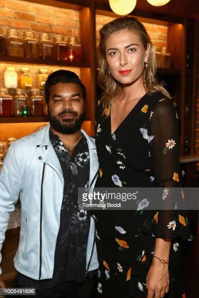 Adrian Dev and Maria Sharapova attend the sbe X Sugarpova Partnership Launch at Cleo on July 25 2018 in Hollywood California