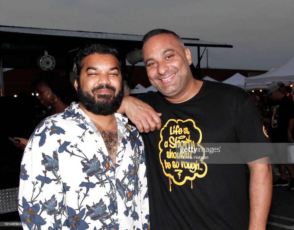 Adrian Dev and Russell Peters attend the Athletes vs Cancer Smoke4aCure Event on August 9, 2018 in Inglewood, California.