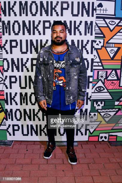 Adrian Dev attends the celebration of the opening of Balt Getty's new store Monk Punk with an East LA style block party at Monk Punk on June 13 2019...