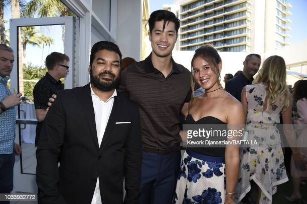 Adrian Dev Ross Butler and guest attend BAFTA Los Angeles BBC America TV Tea Party 2018 at The Beverly Hilton Hotel on September 15 2018 in Beverly...