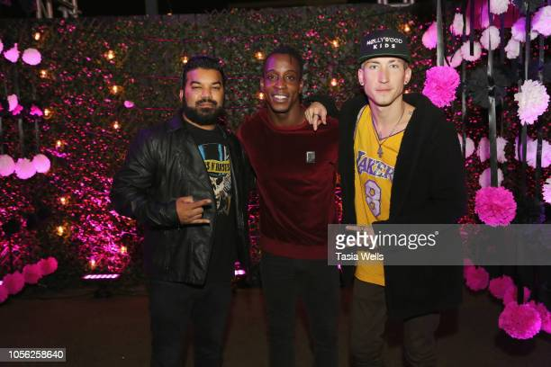 Adrian Dev Shaka Smith and Talon Reid attend Espolòn Celebrates Day of the Dead at Academy Nightclub on November 1 2018 in Hollywood California