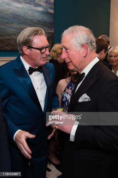 Adrian Dunbar and Prince Charles Prince of Wales attend a dinner to mark St Patrick's Day and celebrate UKIrish relations on March 06 2019 in London...