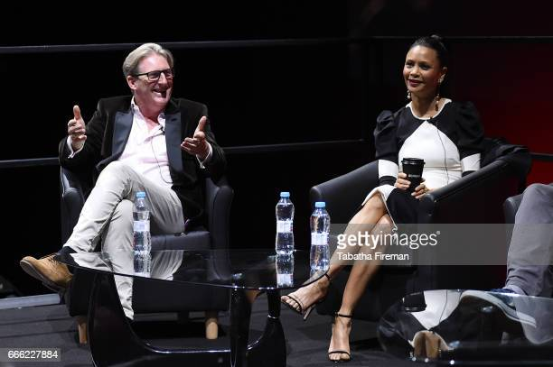 Adrian Dunbar and Thandie Newton speak onstage during the panel discussion about 'Line of Duty' at the BFI Radio Times TV Festival at the BFI...