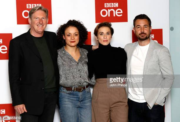 Adrian Dunbar Rochenda Sandall Vicky McClure and Martin Compston attend the 'Line of Duty' photocall at BFI Southbank on March 18 2019 in London...