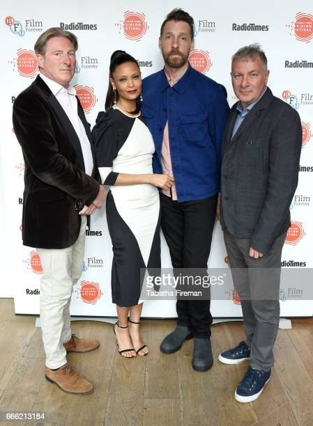 Adrian Dunbar Thandie Newton Craig Parkinson and Jed Mercurio attend the BFI Radio Times TV Festival at the BFI Southbank on April 8 2017 in London...