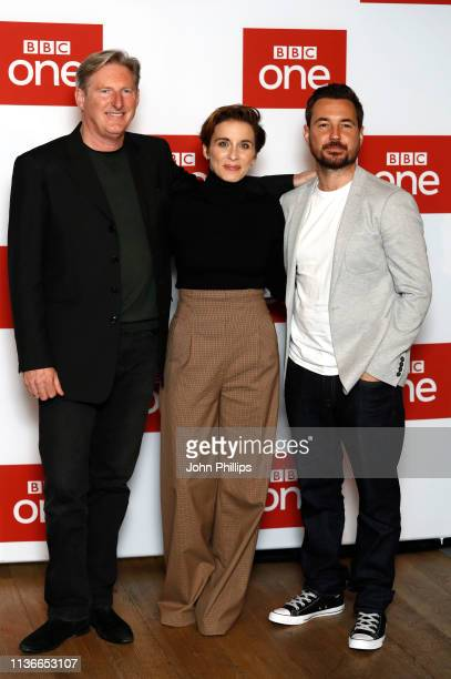 Adrian Dunbar Vicky McClure and Martin Compston attend the 'Line of Duty' photocall at BFI Southbank on March 18 2019 in London England
