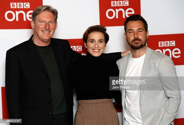 "Adrian Dunbar, Vicky McClure and Martin Compston attend the ""Line of Duty"" photocall at BFI Southbank on March 18, 2019 in London, England."