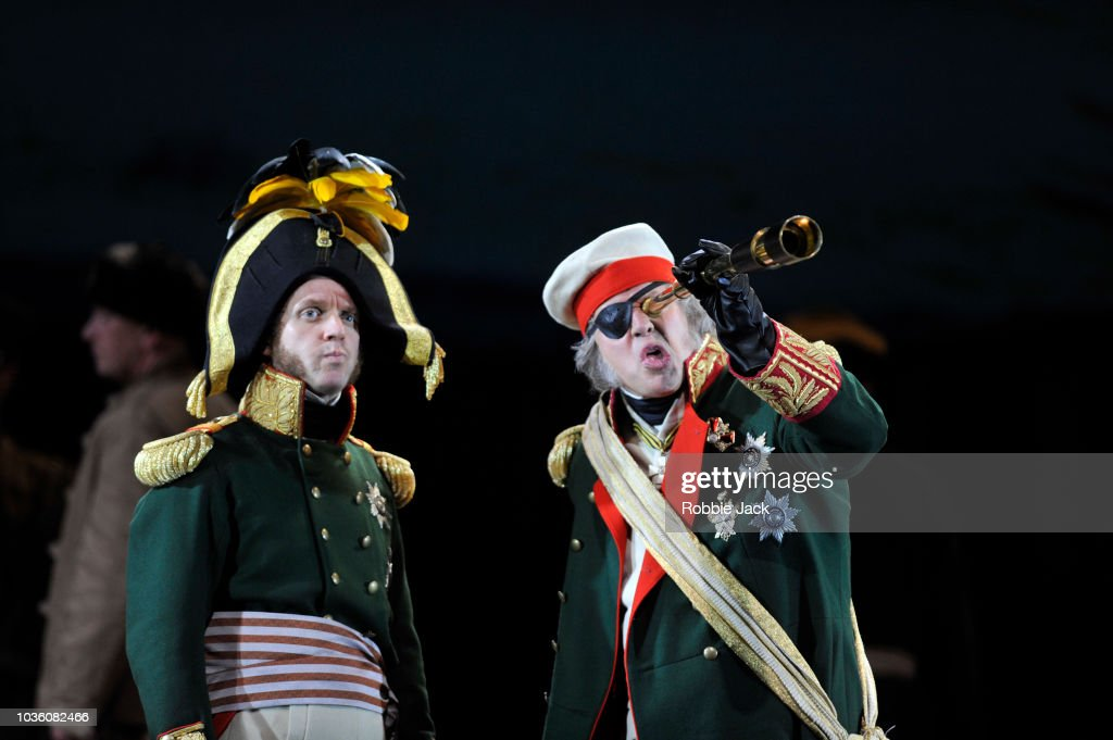 Adrian Dwyer as Anatole and Simon Bailey as Kutuzov in Welsh National Opera's Production Of Prokofiev's War And Peace directed by David Pountney and conducted by Tomas Hanus at Wales Millennium Centre on September 11, 2018 in Cardiff, Wales.