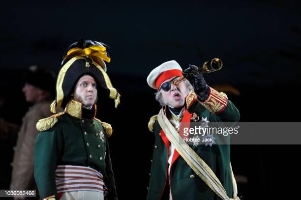 Adrian Dwyer as Anatole and Simon Bailey as Kutuzov in Welsh National Opera's Production Of Prokofiev's War And Peace directed by David Pountney and...
