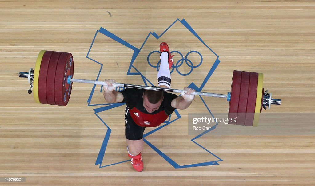 Adrian Edward Zielinski of Poland competes on his way to winning the Gold medal during the Men's 85kg Weightlifting Final on Day 7 of the London 2012 Olympic Games at ExCeL on August 3, 2012 in London, England.
