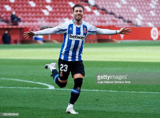 Adrian Embarba of RCD Espanyol celebrates after scoring goal during the Liga Smartbank match between Real Sporting and RCD Espanyol de Barcelona at...