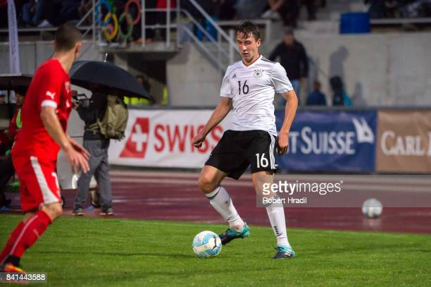 Adrian Fein in action during the U20 international friendly match between U19 Switzerland and U19 Germany on August 31 2017 at Stade SaintLonard in...