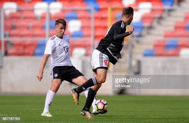 Adrian Fein Miroslav Khlebosolov during the Football European Under19 Championship 2018 Qualifying Round match between Germany and Belarus on October...