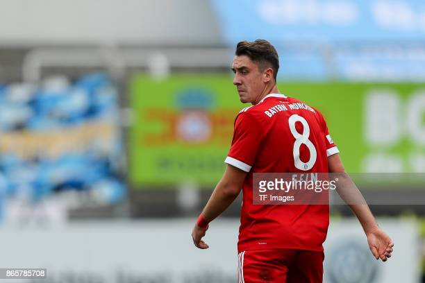 Adrian Fein of Bayern Muenchen looks on during the match between TSV 1860 Muenchen and Bayern Muenchen II at Stadion an der Grünwalder Straße on...