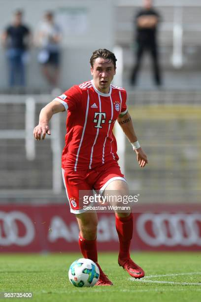 Adrian Fein of Bayern Muenchen plays the ball during the Regionalliga Bayern match between FC Bayern Muenchen II and TSV 1860 Muenchen at Stadion an...