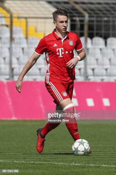 Adrian Fein of FC Bayern Muenchen kicks the ball during the AJuniors semi final first leg German Championship match between FC Bayern Muenchen and FC...
