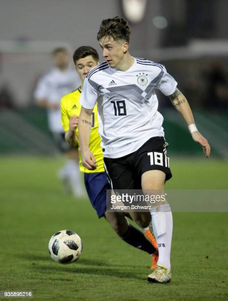 Adrian Fein of Germany controls the ball during the Under 19 Euro Qualifier between Germany and Scotland on March 21 2018 in Lippstadt Germany