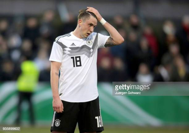 Adrian Fein of Germany reacts after the Under 19 Euro Qualifier between Germany and Scotland on March 21 2018 in Lippstadt Germany