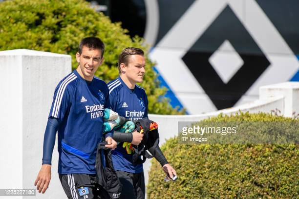 Adrian Fein of Hamburger SV and goalkeeper Tom Mickel of Hamburger SV during the training session of Hamburger SV on May 16 2020 in Herzogenaurach...
