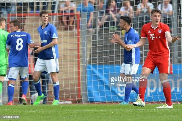 Adrian Fein of Munich looks dejected during the U19 German Championship Semi Final second leg match between FC Schalke and FC Bayern at Lohrheide...