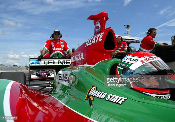 Adrian Fernandez aboard the Fernandez Racing Honda GForce during practice for the Indy Racing League IndyCar Series Menards AJFoyt Indy 225 on July...