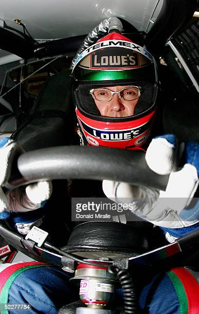 Adrian Fernandez of Mexico looks on from inside his Lowe's Chevrolet Monte Carlo during the practice for the Telcel Mexico 200 Nascar Busch Series...