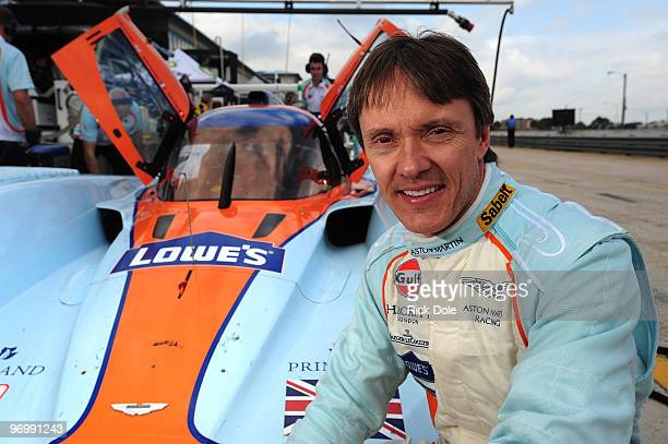 Adrian Fernandez of Mexico sitting along side the Aston Martin Racing Lola prototype during the American Le Mans Series Winter Test at Sebring...