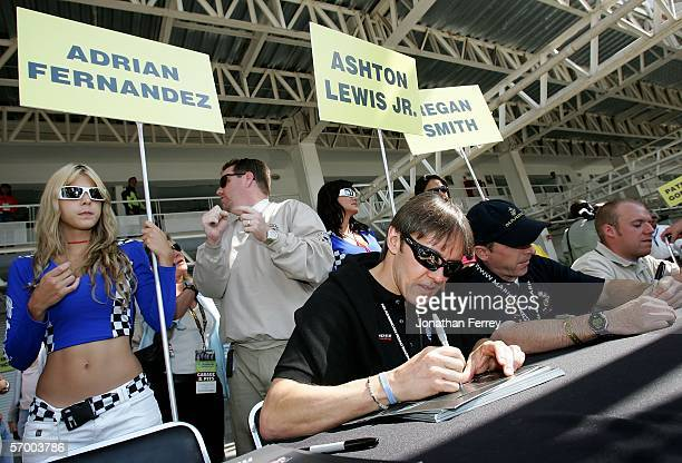 Adrian Fernandez the driver of the Lowe's Chevrolet signs autographs beforethe NASCAR Busch Series TelcelMotorola 200 on March 5 2006 at Autodromo...