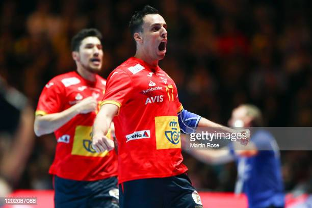Adrian Figueras Trejo of Spain celebrates a goal during the Men's EHF EURO 2020 final match between Spain and Croatia at Tele2 Arena on January 26...