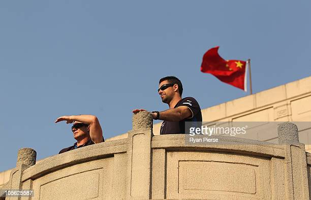 Adrian Fletcher and Jade Rawlings assistant coaches of the Lion s look on from the coaches box during the AFL Kaspersky Cup Shanghai Showdown match...