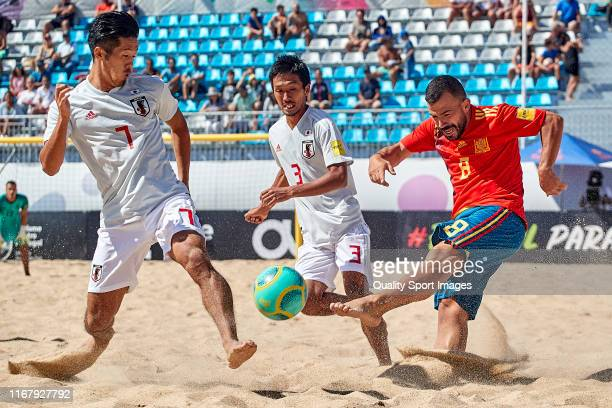 Adrian Frutos of Spain shots on goal during the match between Spain and Japan during day 1 of Mundialito Nazare 2019 at Estadio Do Viveiro on August...
