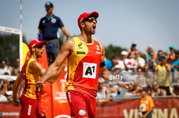 Adrian Gavira and Pablo Herrera of Spain celebrate during the Men's Main draw elimination match between Spain and Brazil on August 4 2017 in Vienna...