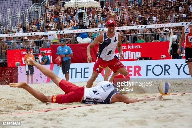 Adrian Gavira Collado and Pablo Herrera Allepuz of Spain in action during Day 9 of the FIVB Beach Volleyball World Championships 2017 on August 5...