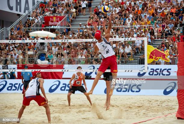 Adrian Gavira Collado of Spain in action during Day 9 of the FIVB Beach Volleyball World Championships 2017 on August 5 2017 in Vienna Austria