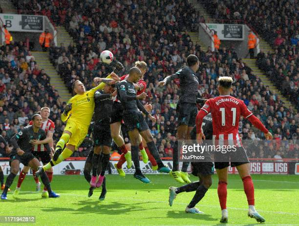 Adrian gets to the ball during goal mouth action at the English Premier League Match between Sheffield United and Liverpool at the Bramall Lane...