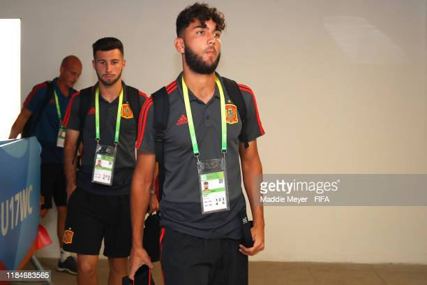 Adrian Gomez of Spain arrives before the FIFA U17 World Cup Brazil 2019 group E match between Spain and Tajikistan at Estádio Kléber Andrade on...