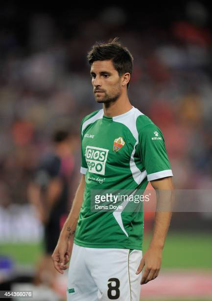 Adrian Gonzalez of Elche CF warms up before the La Liga match between FC Barcelona and Elche FC at Camp Nou stadium on August 24 2014 in Barcelona...