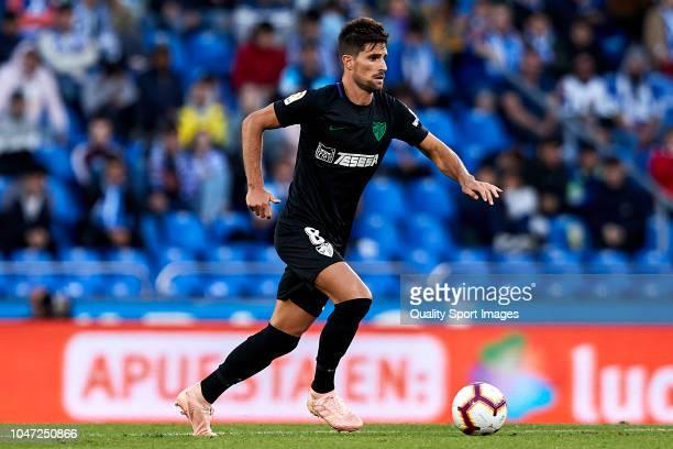 Adrian Gonzalez of Malaga CF in action during the La Liga 123 match between Deportigo de La Coruna and Malaga CF at Abanca Riazor Staidum on October...