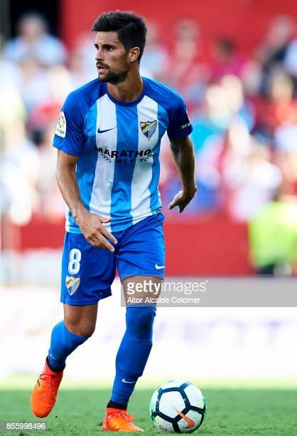 Adrian Gonzalez of Malaga CF in action during the La Liga match between Sevilla and Malaga at Estadio Ramon Sanchez Pizjuan on September 30 2017 in...
