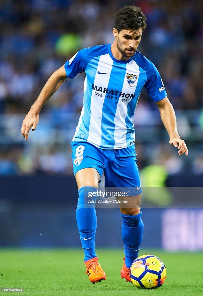 Adrian Gonzalez of Malaga CF in action during the La Liga match between Malaga and Celta de Vigo at Estadio La Rosaleda on October 29, 2017 in Malaga, Spain.