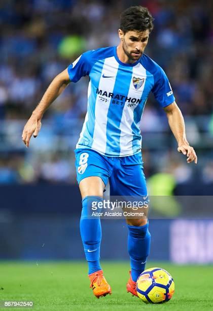 Adrian Gonzalez of Malaga CF in action during the La Liga match between Malaga and Celta de Vigo at Estadio La Rosaleda on October 29 2017 in Malaga...