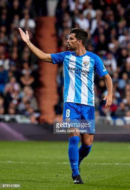 Adrian Gonzalez of Malaga CF reacts during the La Liga match between Real Madrid and Malaga at Estadio Santiago Bernabeu on November 25 2017 in...