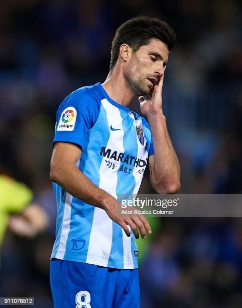 Adrian Gonzalez of Malaga CF reacts during the La Liga match between Malaga and Girona at Estadio La Rosaleda on January 27 2018 in Malaga
