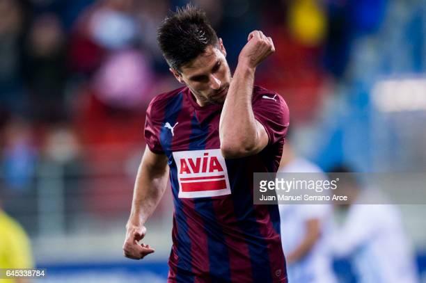 Adrian Gonzalez of SD Eibar celebrates after scoring his team's second goal during the La Liga match between SD Eibar and Malaga CF at Ipurua...