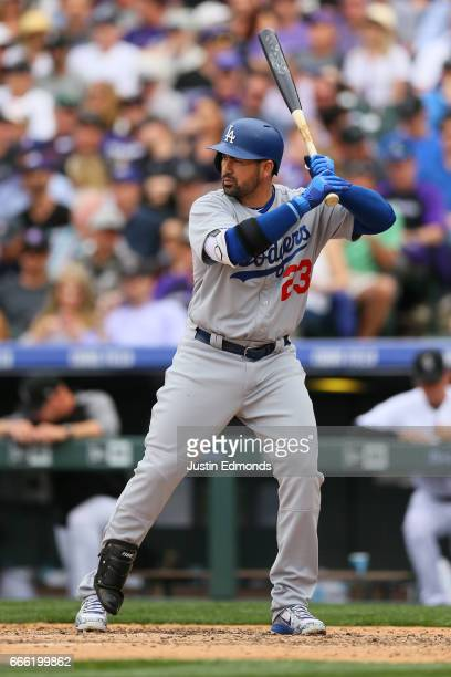 Adrian Gonzalez of the Los Angeles Dodgers bats against the Colorado Rockies on Opening Day at Coors Field on April 7 2017 in Denver Colorado