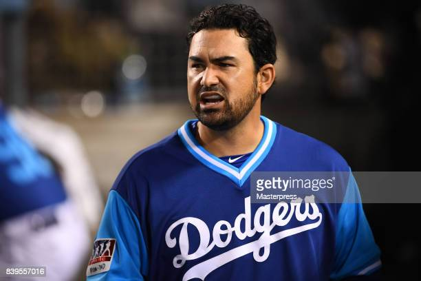 Adrian Gonzalez of the Los Angeles Dodgers looks on during the game against the Milwaukee Brewers at Dodger Stadium on August 25 2017 in Los Angeles...