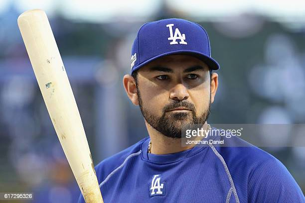 Adrian Gonzalez of the Los Angeles Dodgers looks on prior to game six of the National League Championship Series against the Chicago Cubs at Wrigley...