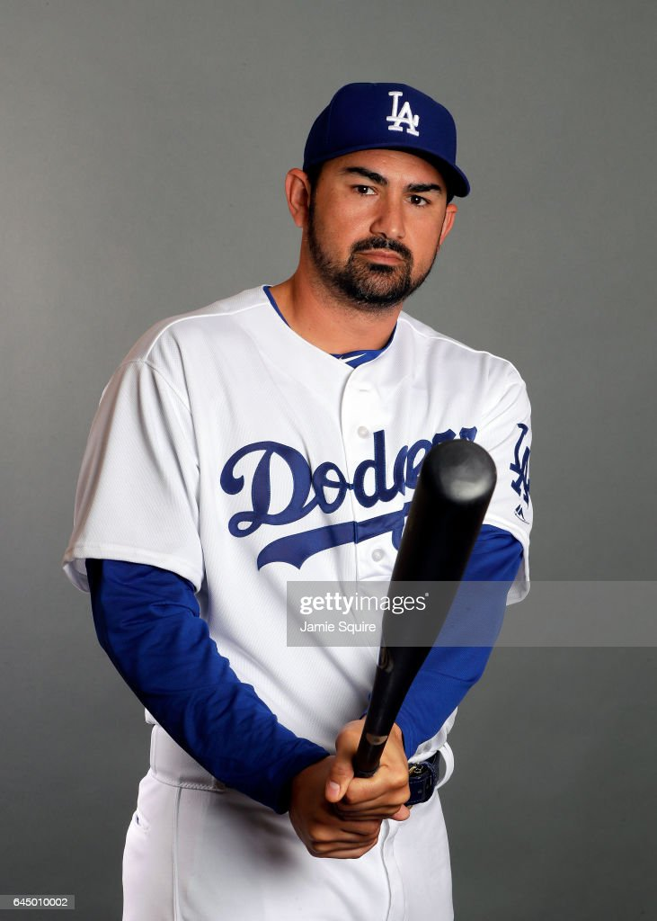 Adrian Gonzalez #23 of the Los Angeles Dodgers poses on Los Angeles Dodgers Photo Day during Sprint Training on February 24, 2017 in Glendale, Arizona.