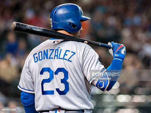 Adrian Gonzalez of the Los Angeles Dodgers waits in the ondeck circle during the sixth inning of the MLB game against the Arizona Diamondbacks at...